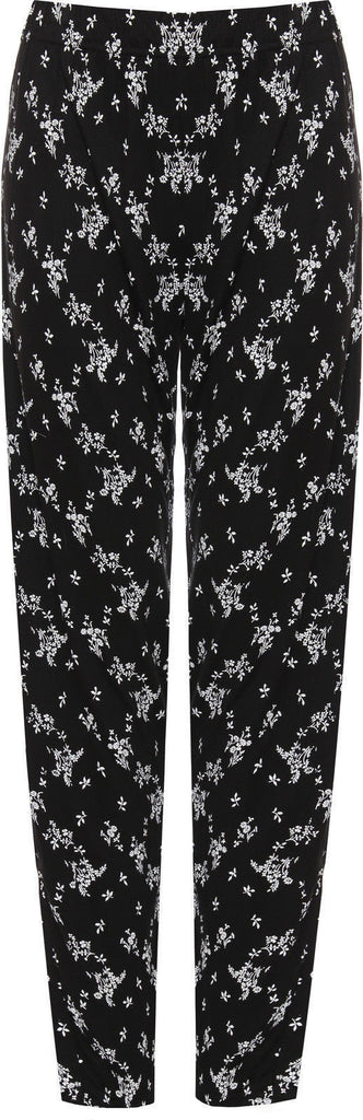 6068 Black White Floral Print Trouser