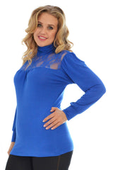 1231 Royal Blue Lace Trim Polo Neck Top