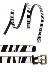 4015 White Zebra Print Belt