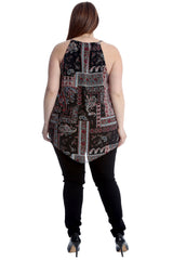 Abstract Paisley Print Chiffon Hanky Hem Top