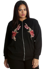3212 Black Embroidered Twin Floral Patch Bomber Jacket