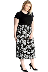 5017 Black White Floral Maxi Skirt