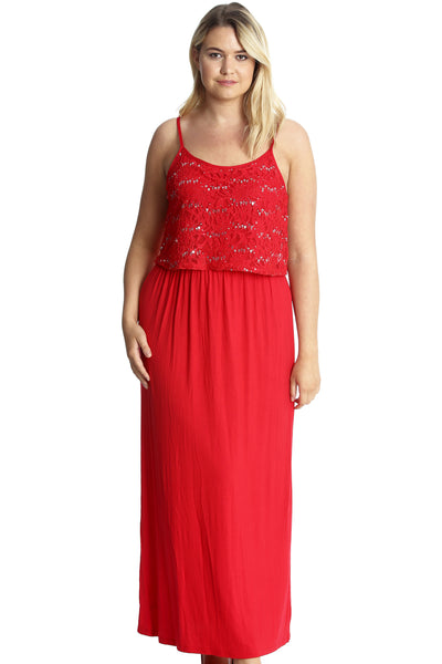 Floral Sequin Lace Maxi Dress