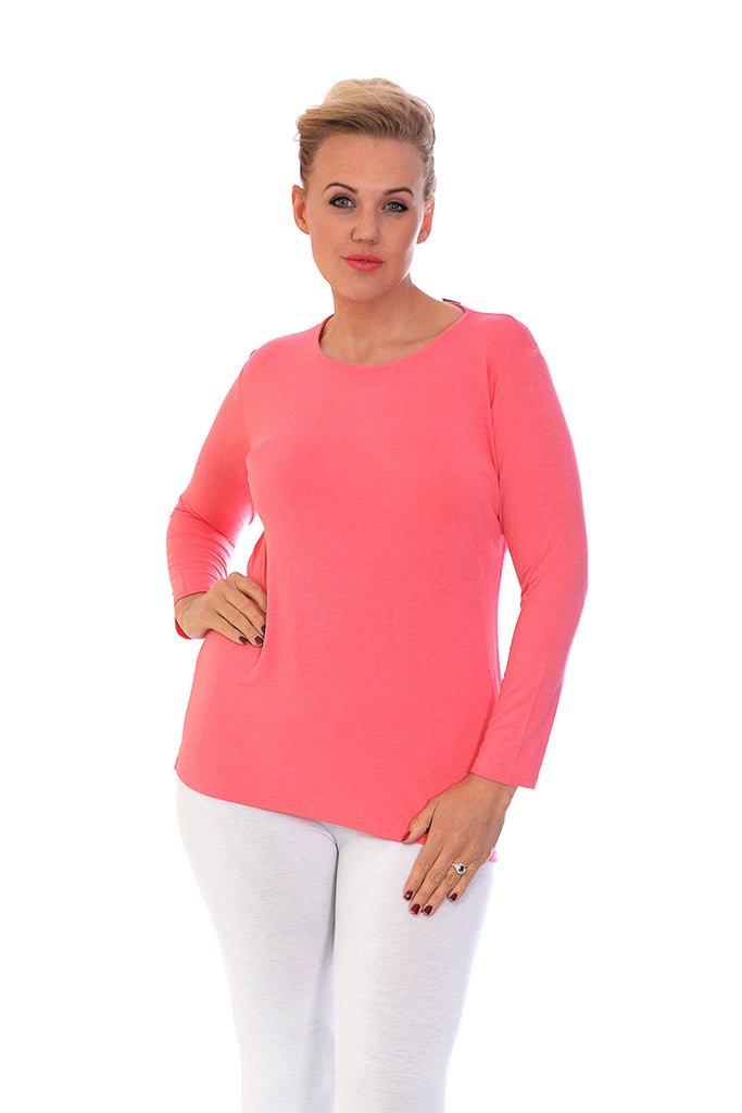 1128 Coral Plain Long Sleeve Top