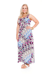 2165 Purple Animal Floral Print Maxi Dress