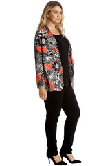 3218 Orange Floral Print Open Front Cardigan