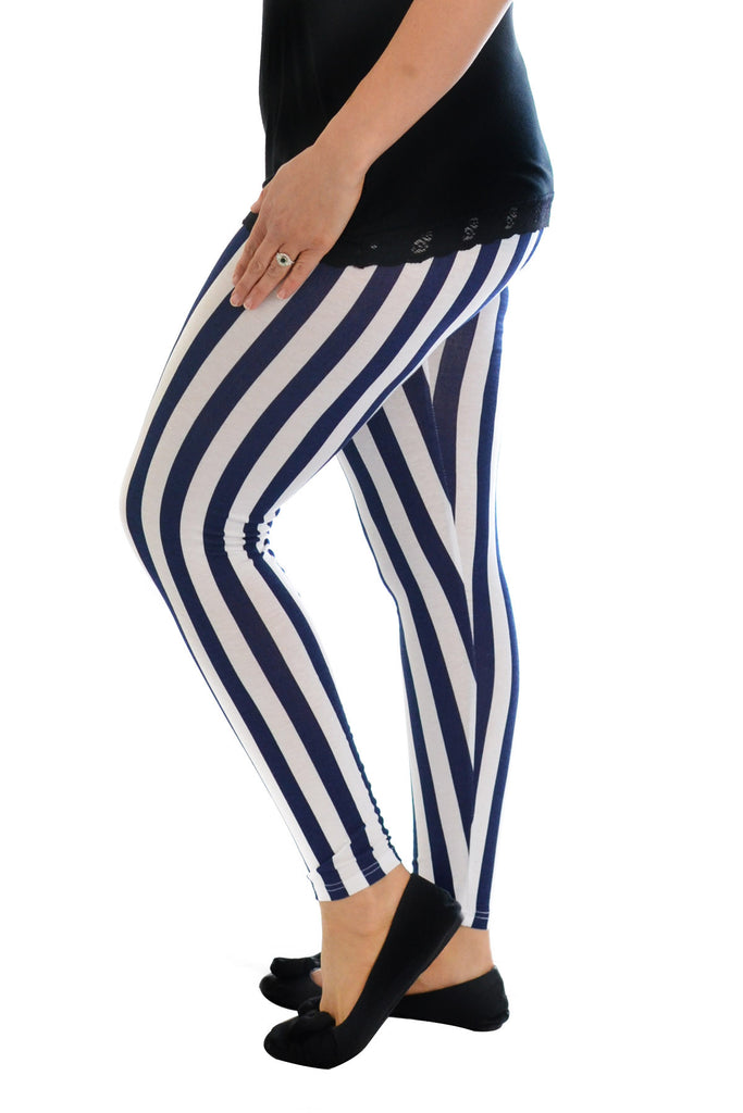 7048 Blue Stripe Full Length Leggings