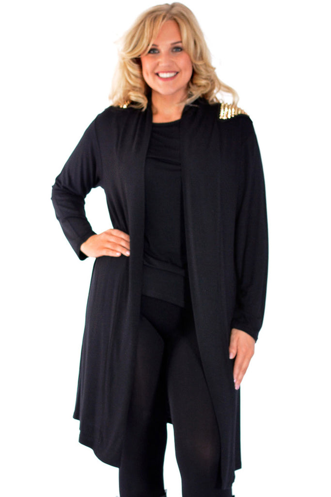 3010 Black Open Military Stud Cardigan