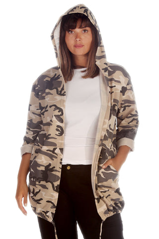 Hoodied Camouflage Open Front Jacket