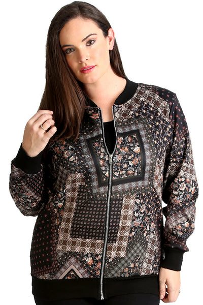 Abstract Floral Print Bomber Jacket