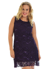 2090 Royal Blue Floral Lace Sequin Dress