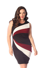 2169 Wine Curve Panel Dress