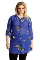 Chiffon Butterfly Side Slit Shirt