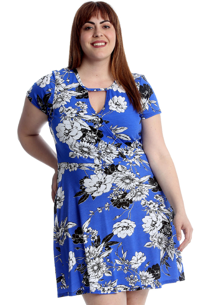 Floral Print Crossover Dress