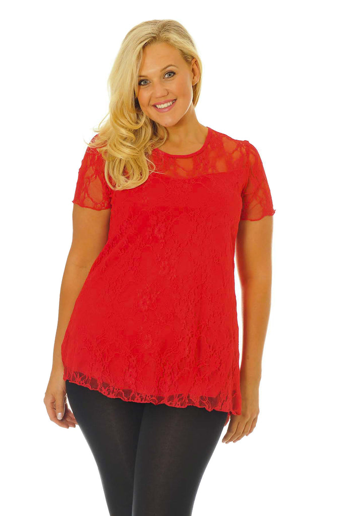 1079 Red Floral Lace Top