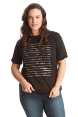 1389 Black Boyfriend Sequin T Shirt