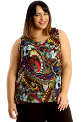 Paisley Print Zip Back Chiffon Top