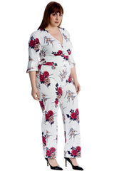 Floral Print Crossover Crop Top & Trouser Suit