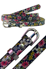 4010 Navy Blue Floral Print Belt