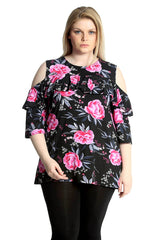 Frill Neck Rose Print Top