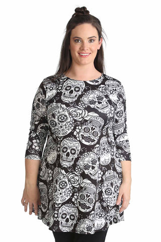 Calavera Skull Print Swing Top