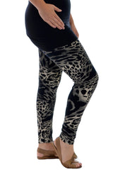 7084 Black Abstract Animal Print Leggings