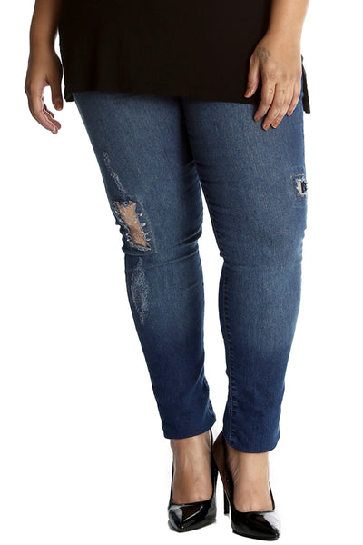 Sequin Patched Ripped Jeans