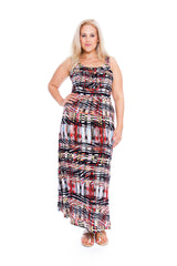 2160 Red Abstract Artsy Print Maxi Dress