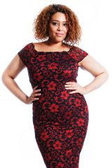 2141 Red Two Tone Floral Lace Bodycon Dress