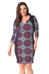 2176 Blue Paisley Geometric Bodycon