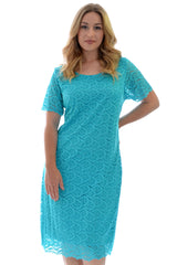 2119 Turquoise Floral Lace Dress