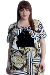 Chains & Tassels Print Frill Shrug