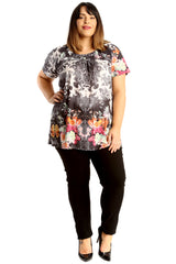 Floral Fruit Print Smock Top