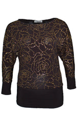 1272 Gold Floral Glitter Batwing Top