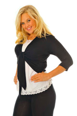 1069 Black Plain Front Tie Shrug