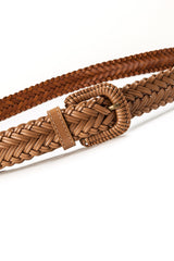 4017 Beige Plain Braided Belt