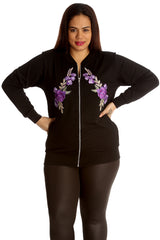 3212 Purple Embroidered Twin Floral Patch Bomber Jacket