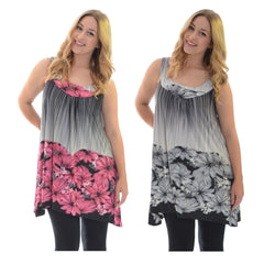 1242 Purple Flower Bed A Line Top