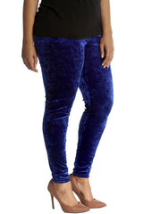 7137 Royal Blue Full Length Velvet Leggings