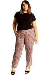 Tile Print Side Pocket Trousers