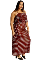Thin Strap Pleated Polka Dot Maxi Dress