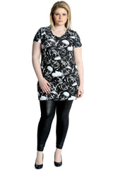 1168 Black Gothic Skull And Rose Print Top