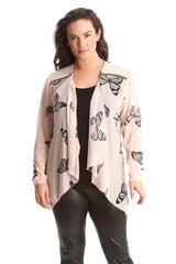 Zip Detail Butterfly Chiffon Cardigan