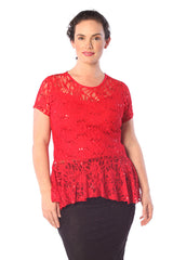 1110 Red Floral Lace Peplum Top