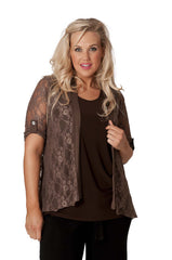 3002 Brown Diamonted Flower Lace Cardigan