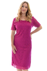 2119 Magenta Floral Lace Midi Dress