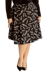 Feather Print Skater Skirt