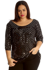 1000 Purple Dot Foil Smock Top