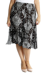 5028 Black Moroccan Tile Print Skirt