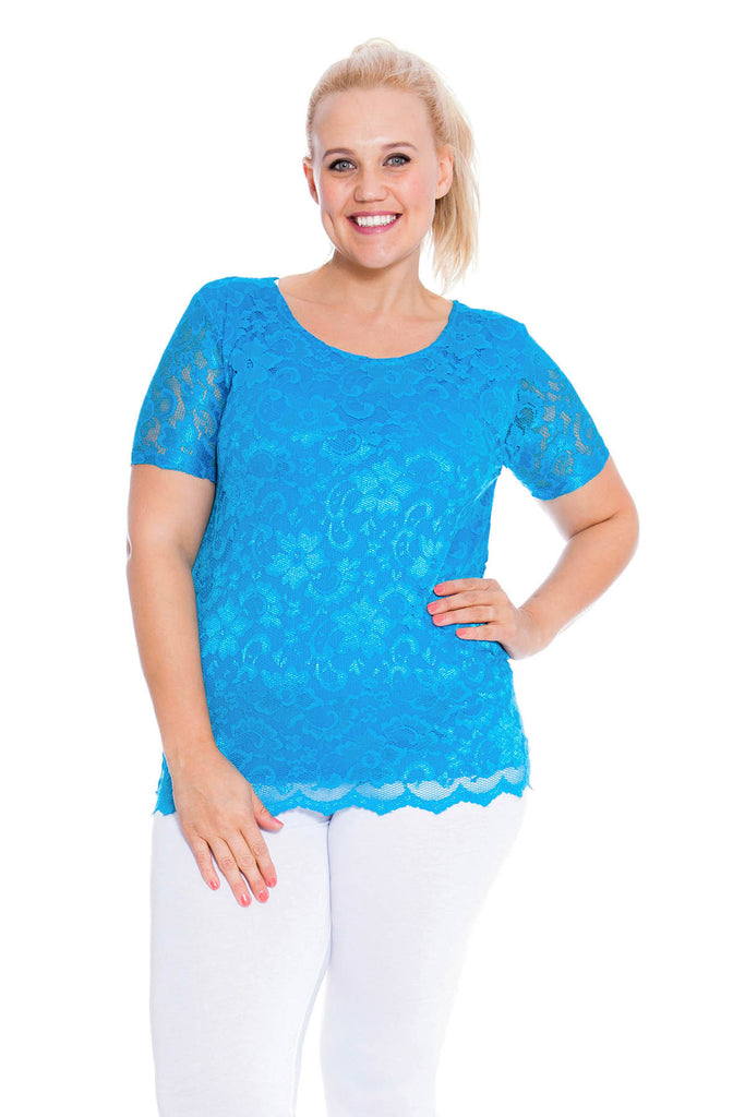 1300 Stone Scallop Lace Top